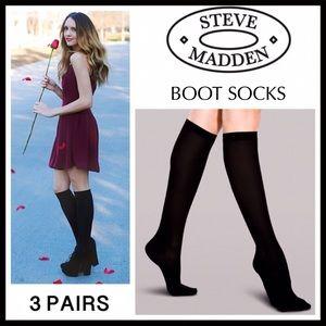 STEVE MADDEN 3 BLACK TALL KNEE HIGH BOOT SOCKS A2C